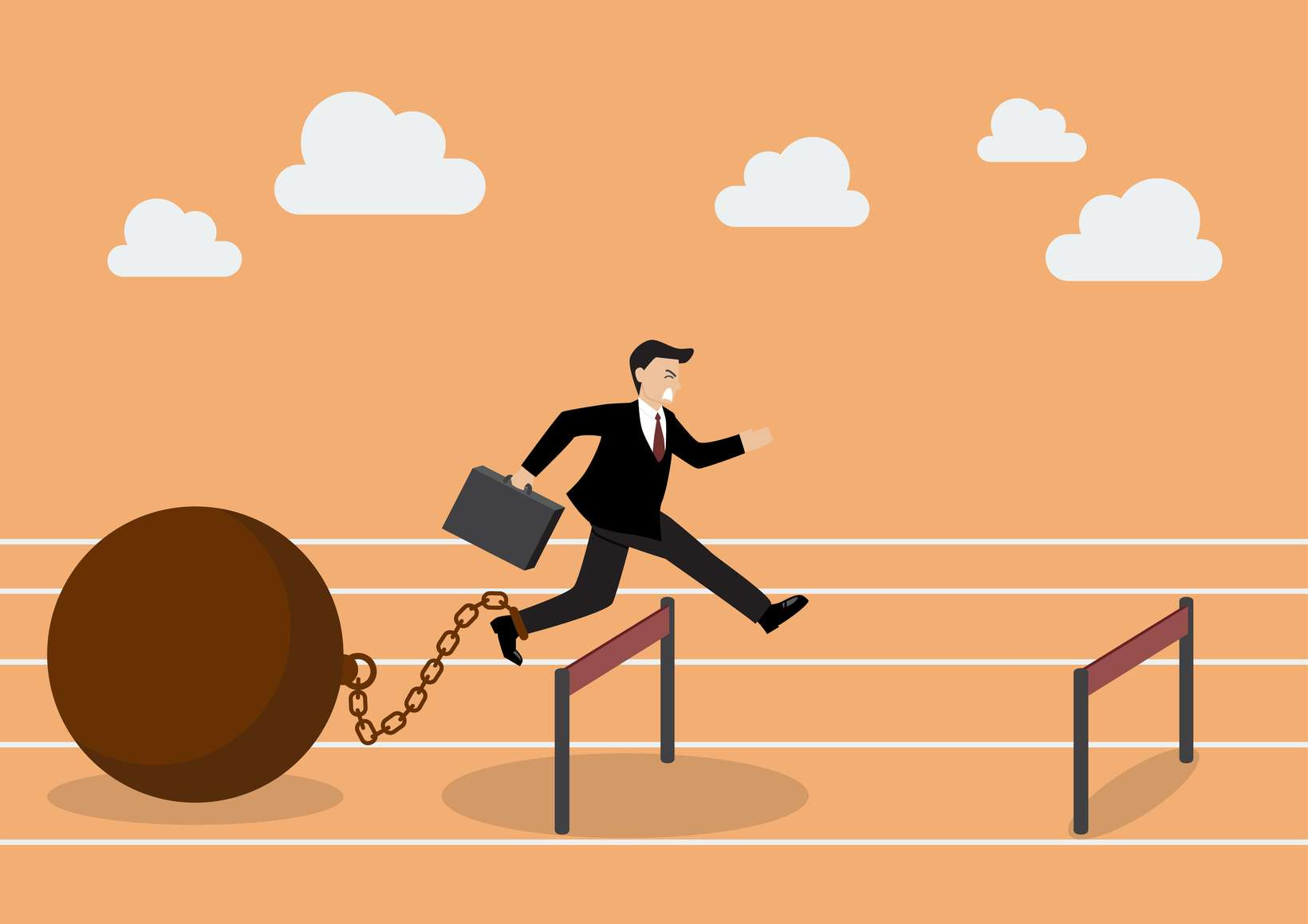 Businessman jumping over hurdle with the weight. Business concept